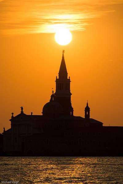 Campanile of San Giorgio Maggiore scratches the Venice morning sun.