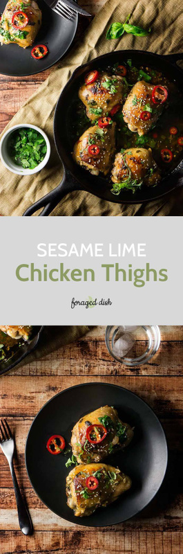 Sesame Lime Chicken Thighs can be cooked in your skillet and are paleo friendly!