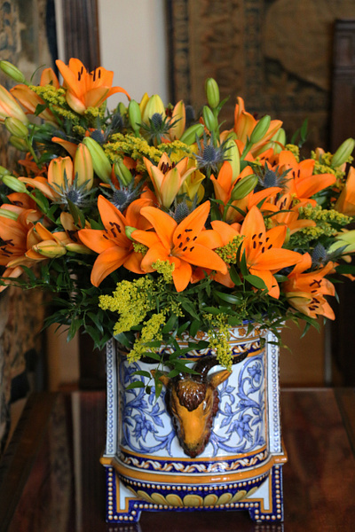 Fresh flowers adorn the Chateau