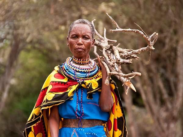 Masaai woman gathering firewood