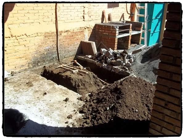 Excavation for bathroom foundation.