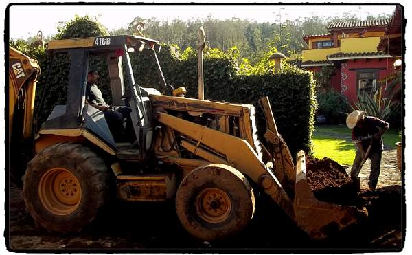 Tractor for septic tank hole