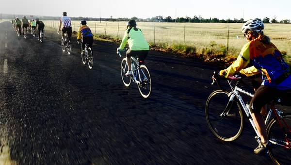 Pedaling Toward the Day's First Climb
