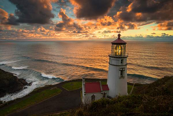 Horizontal Lighthouse At Sunset