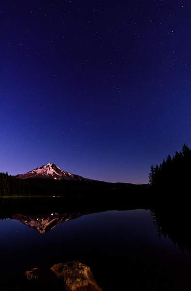 Mt Hood Lit Up By Full Moon