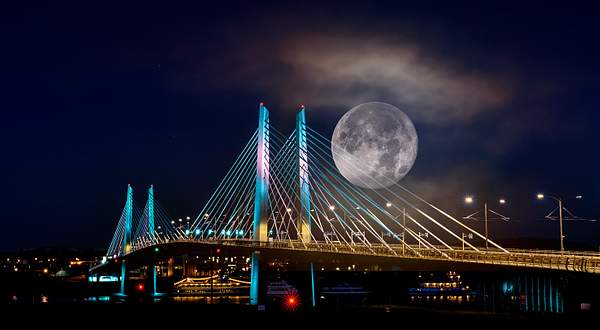 Super Moon Composite with Tillikum Bridge