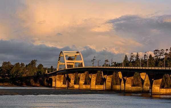 Golden Light On Waldport Bridge As the Sun Comes Up