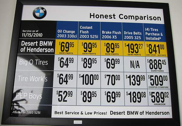 Tire price comparison at Henderson BMW