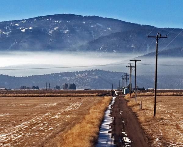 Winter View from a Train Window Outside Klamath Falls, Oregon