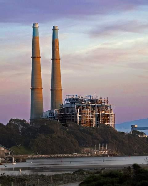 Power Plant at Sunset in Moss Landing, California