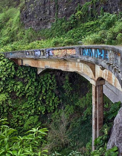 _Graffiti on a Bridge Along the Old Pali Highway, Oahu, Hawaii