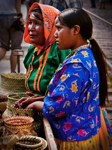 Tarahumara Indian women sell their baskets at Divisadero, Mexico