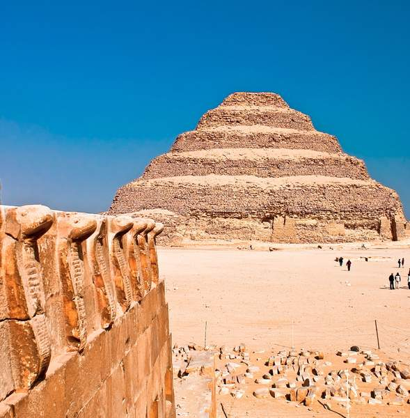 Cobras & pyramid, Saqqara, Egypt