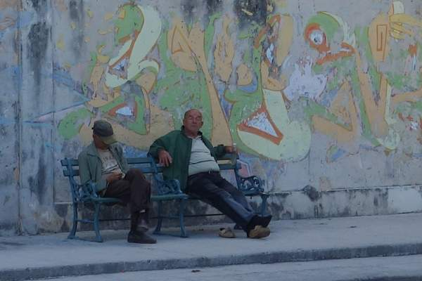 Sidewalk Bench, Havana, Cuba