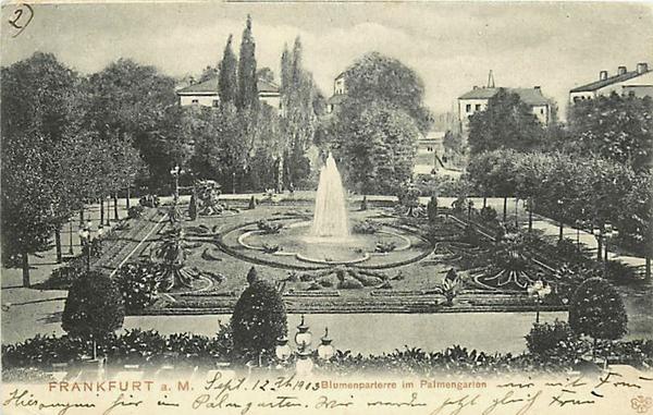GERMANY-FRANKFURT-BLUMENPARTERRE-PALMENGARTEN-PALM GARDEN-FOUNTAIN-1903