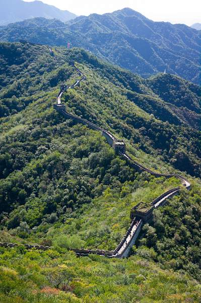 The Wall hugs the ridge line at Mutianyu